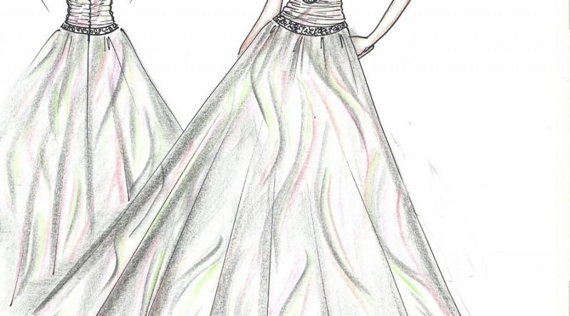 解析省道,分割线,衣褶,衣裥,波浪,垂荡等结构元素在礼服款式构成中的图片