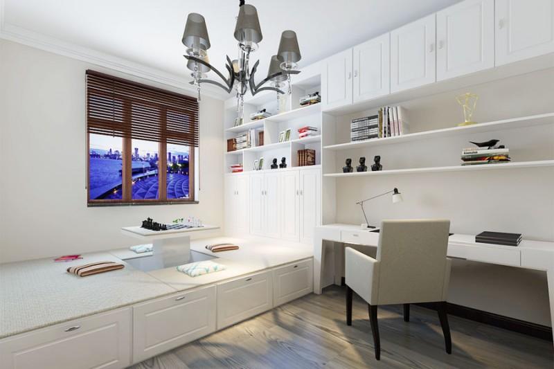 房间小就可以没有书房了,榻榻米式书桌满足你图片