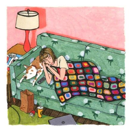 她画出了女生独处时的羞羞日常,引来100万人围观:原来图片