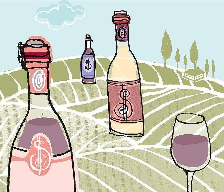各种品牌的葡萄酒