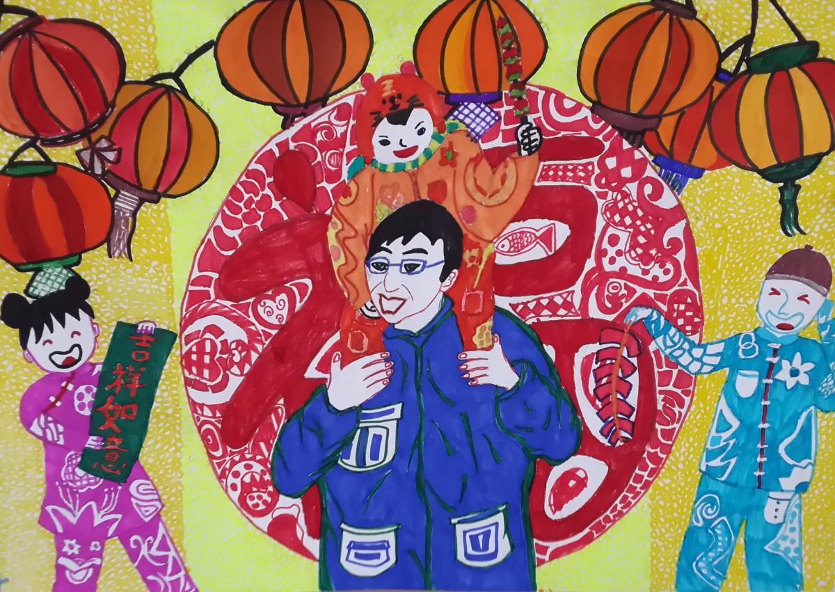 作品名称过年 作者李泽浩 年龄10岁 家长联系方式18101171814 中公教科院北京大兴实验学校 辅导教师周婕.jpg