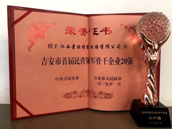 江西景旺荣获吉安市首届民营领军骨干企业