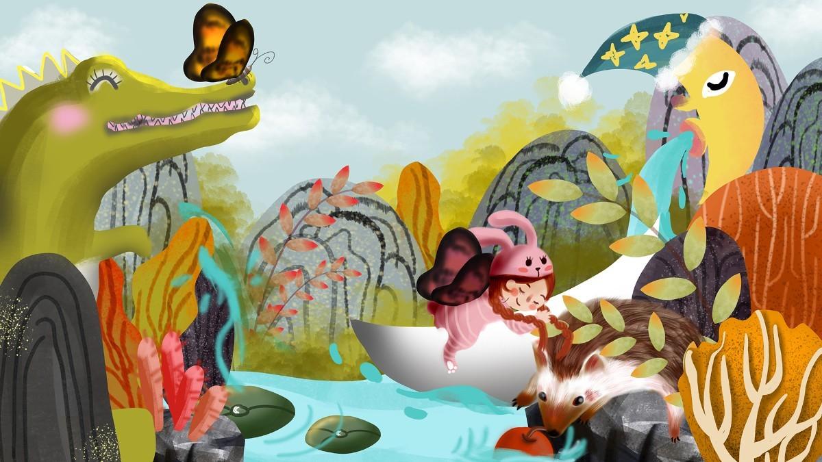 千图网_山物记鳄鱼儿童月亮山林树木岛屿树叶河流船_图片编号32390905.jpg